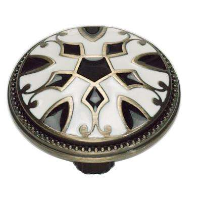 Canterbury 1 1/2 in. Antique Brass W/Enameling Lacquer in Black & White Round Knob