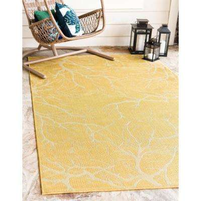 Outdoor Branch Yellow 7' 0 x 10' 0 Area Rug