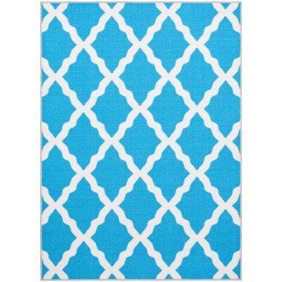 Pink Collection Contemporary Moroccan Trellis Design Blue 3 ft. 3 in. x 5 ft. Area Rug