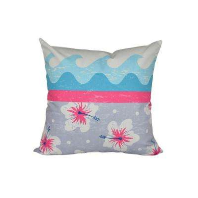16 in. x 16 in. Pink Surf Sand and Sea Floral Print Pillow