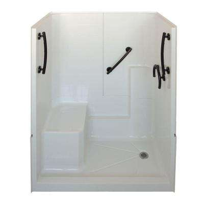 Freedom 32 in. x 60 in. x 77 in. 3-Piece Low Threshold Shower Stall in White and Oil Rubbed Bronze with Right Drain