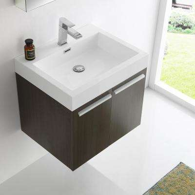 Alto 23 in. Vanity in Gray Oak with Acrylic Vanity Top in White with White Basin and Mirrored Medicine Cabinet
