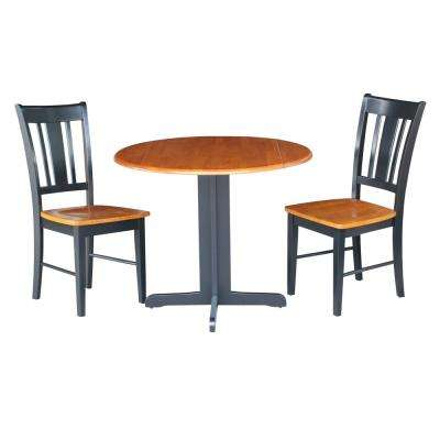 3-Piece Black and Cherry Dining Set