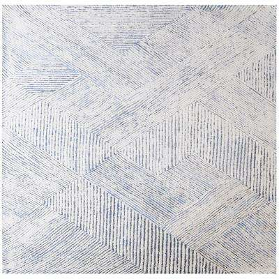 Vaugham Ivory and Blue Denim 16 in. x 16 in. Square Indoor Area Rug