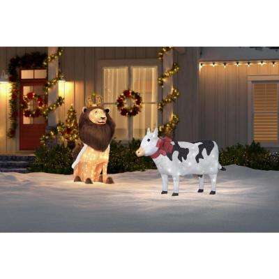 55 in. W Christmas Cow Yard Decoration with LED Lights