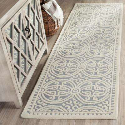 Cambridge Silver/Ivory 3 ft. x 12 ft. Runner Rug