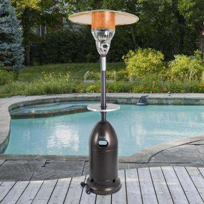 Premium 48,000 BTU Hammered Bronze Gas Patio Heater with Bronze Table