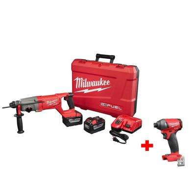 M18 FUEL 18-Volt Lithium-Ion Brushless 1 in. SDS PLUS D-Handle Rotary Hammer 9.0Ah Kit with Free M18 FUEL 1/4 in. Impact