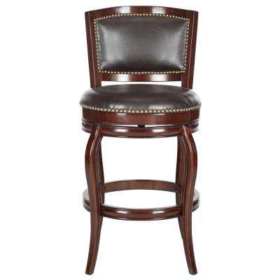 Pasquale Swivel Leather Bar Stool in Sierra Brown