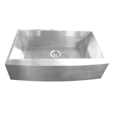 Farmhouse Apron Front Stainless Steel 33 in. Single Basin Kitchen Sink in Satin