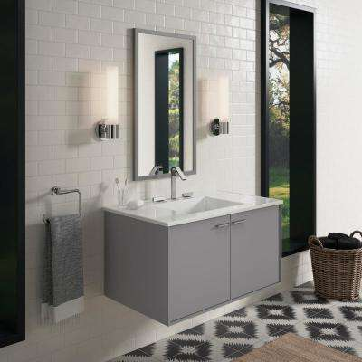 Jute 36 in. W Wall-Hung Vanity Cabinet in Mohair Grey with Vitreous China Vanity Top in White Impressions with Basin