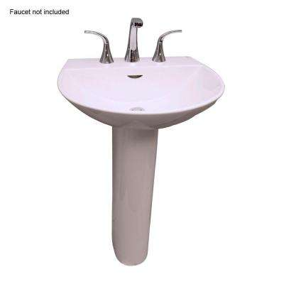Reserva 600 22 in. Pedestal Combo Bathroom Sink for 8 in. Widespread in White