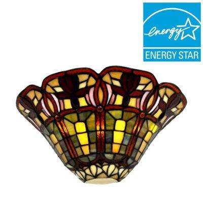 Stained Glass Floral Half Moon Battery Operated 3-LED Sconce
