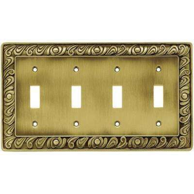 Paisley 4-Gang Toggle Switch Wall Plate - Tumbled Antique Brass