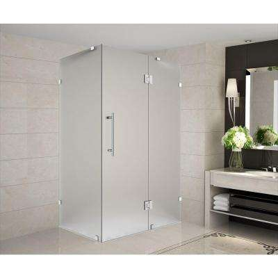 Avalux 33 in. x 36 in. x 72 in. Completely Frameless Shower Enclosure with Frosted Glass in Stainless Steel