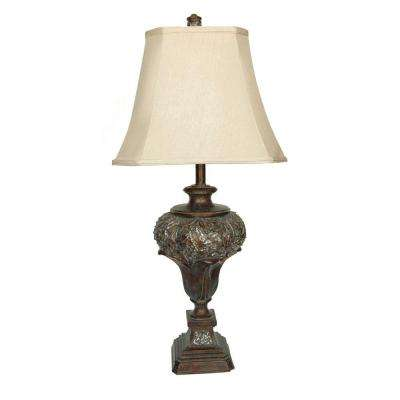 32 in. Brushed Umber Table Lamp Pleated Corner Shade