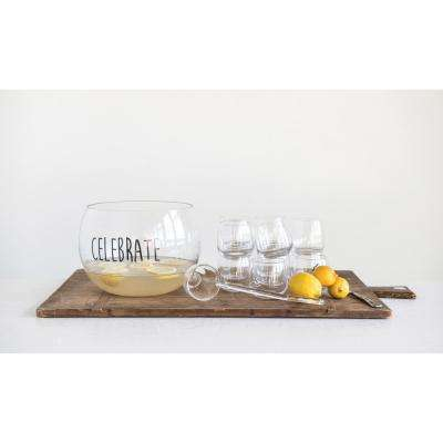 """6.5 qt. Clear Glass """"Celebrate"""" Punch Bowl with Ladle & 8 Glasses"""