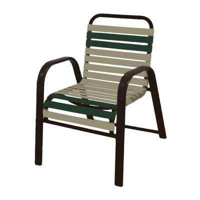 Marco Island Dark Cafe Brown Commercial Grade Aluminum Patio Dining Chair  With Putty And Green Vinyl