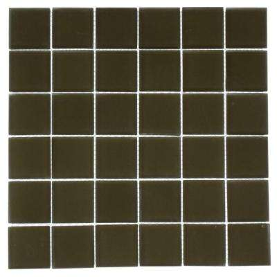 Contempo Khaki 12 in. x 12 in. x 8 mm Frosted Glass Mosaic Floor and Wall Tile