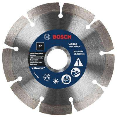 5 in. Segmented Rim V-Groove Diamond Blade for Soft Materials