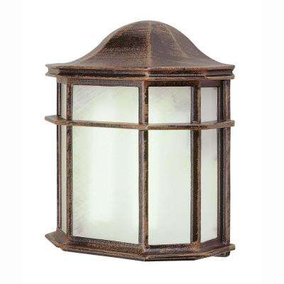 1-Light Outdoor Rust Patio Wall Lantern with Frosted Acrylic