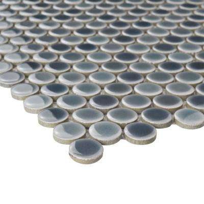 Hudson Penny Round Stillwater 12 in. x 12-5/8 in. x 5 mm Porcelain Mosaic Tile