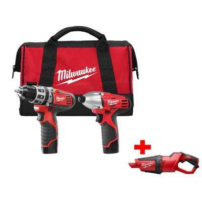 M12 12-Volt Lithium-Ion Cordless Hammer Drill/Impact Driver Combo Kit with Free M12 Cordless Vacuum