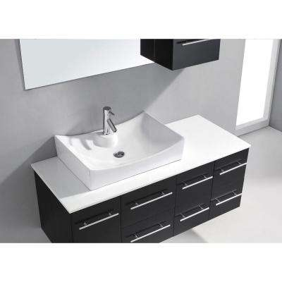 Ceanna 54 in. W Bath Vanity in Espresso with Stone Vanity Top in White with Square Basin and Mirror and Faucet