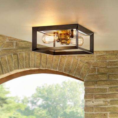 Walden Forge 2-Light Black Frame Flush Mount Ceiling Light with Antique Brass Sockets