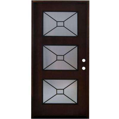 Modern Iron Grille 3 Lite Stained Mahogany Wood Prehung Front Door