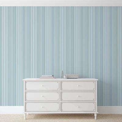 56.4 sq. ft. Martinez Blue Striped Wallpaper