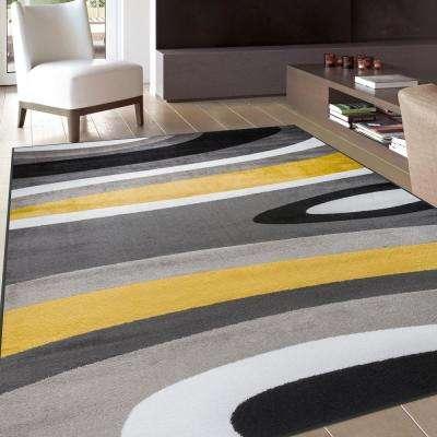 "Abstract Contemporary Modern Gray Yellow Area Rug 3'3""x5'3"""
