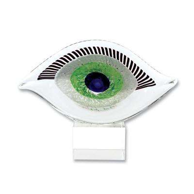 Mini Good Luck Murano Style Art Glass Eye 5 in. H x 6.75 in. L Abstract Centerpiece-Visionary