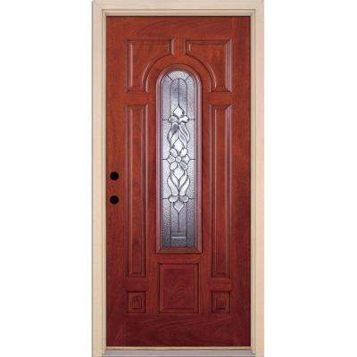Feather River Doors 37.5 in. x 81.625 in. Lakewood Zinc Center Arch Lite Stained Cherry Mahogany Right-Hand Fiberglass Prehung Front Door Feather River Doors