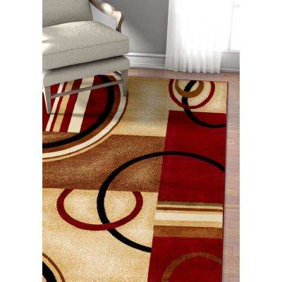 Barclay Arcs and Shapes Red 9 ft. x 13 ft. Modern Geometric Area Rug