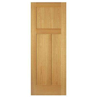 3-Panel Mission Unfinished Red Oak Interior Door Slab