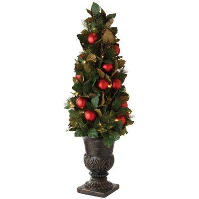 4 ft. Pre-Lit Artificial Christmas Tree with Magnolias and Ornaments
