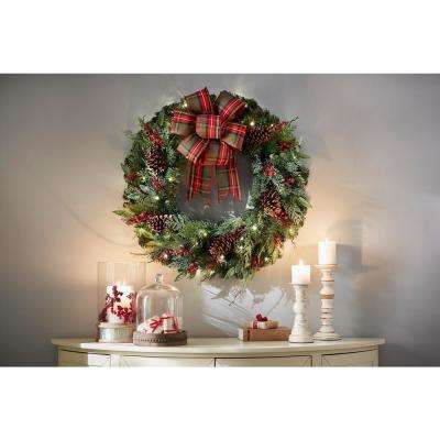32 in. Pre-Lit Artificial Christmas Wreath with Plaid Ribbon and 50 Battery-Operated Warm White LED
