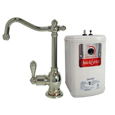Single-Handle Hot Water Dispenser Faucet with Heating Tank in Polished Nickel