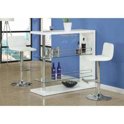 Metal Hydraulic Lift Barstool in White with Chrome (2-Piece)