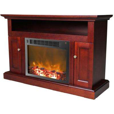 Sorrento 23 in. Electronic Fireplace Mantel with Insert in Mahogany