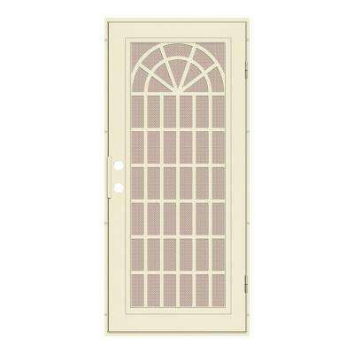 30 in. x 80 in. Trellis Beige Hammer Right-Hand Surface Mount Security Door with Desert Sand Perforated Metal Screen