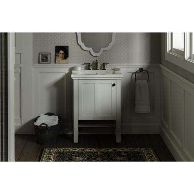 Tresham 24 in. W x 18-1/4 in. D Vanity in Linen White with Vitreous China Vanity Top in White with White Basin
