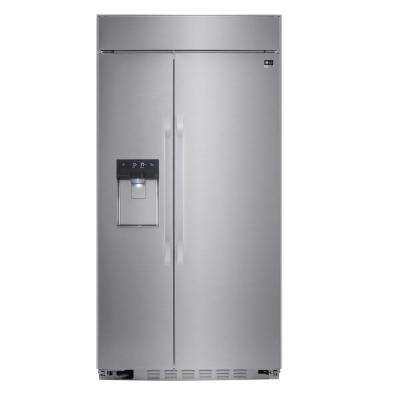 42 in. W 25.6 cu. ft. Built-in Side by Side Refrigerator in Stainless Steel