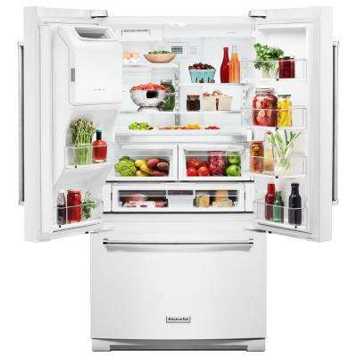 27 cu. ft. French Door Refrigerator in White with Exterior Ice and Water