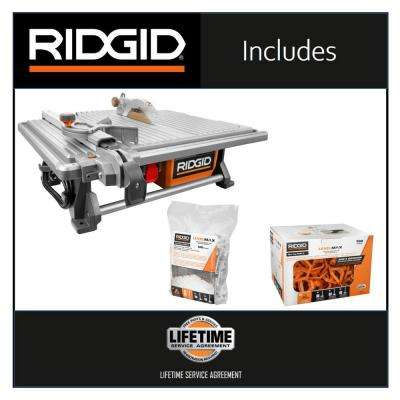 6.5 Amp Corded 7 in. Table Top Wet Tile Saw with LevelMax Anti-Lippage and Spacing System (3) Flat Stem and (3) Top Only