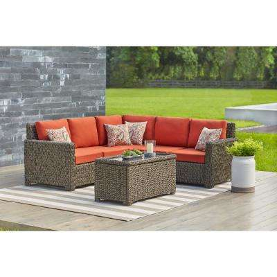 Laguna Point Brown Wicker Outdoor Patio Armless Middle Sectional Chair with Standard Quarry Red Cushions