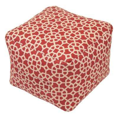 Chili Matrix Square Outdoor Pouf Cushion with Handle