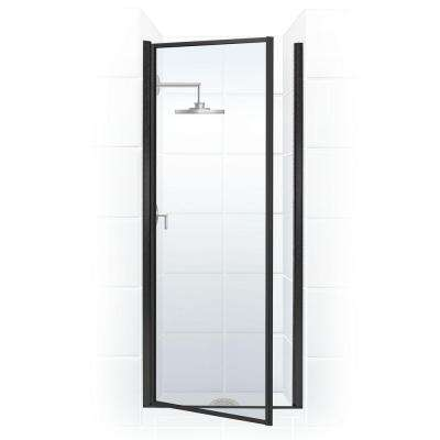 Legend 27.625 in. to 28.625 in. x 68 in. Framed Hinged Shower Door in Black Bronze with Clear Glass