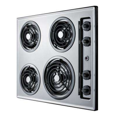 24 in. Coil Top Electric Cooktop in Chrome with 4 Elements